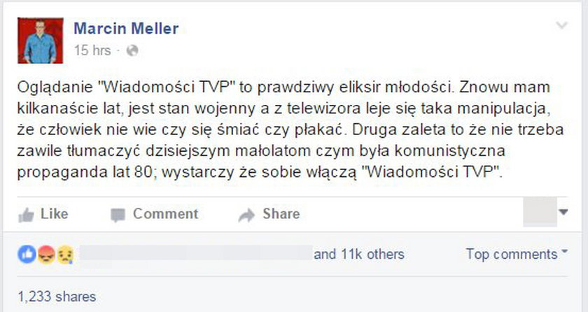"""Meller oburzony na """"Wiadomości"""". Poszło o KOD"""