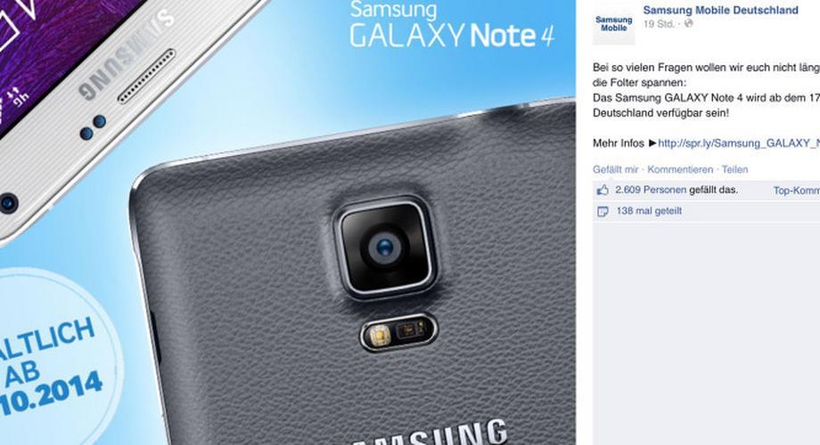 Samsung Galaxy Note 4 und Gear S ab 17. Oktober