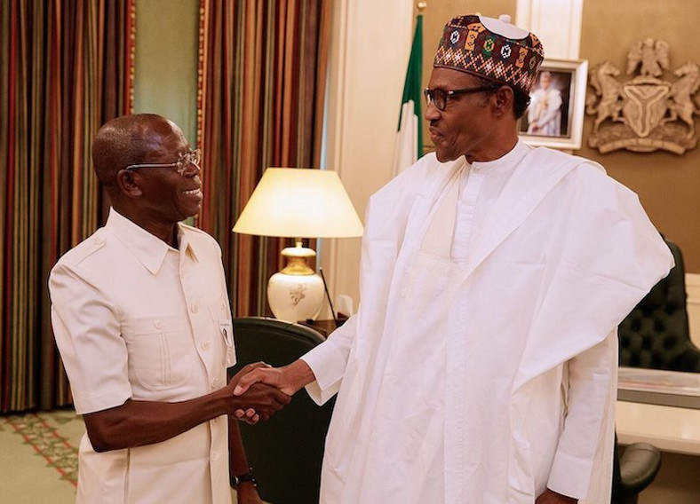 President Muhammadu Buhari and Oshiomhole always stay on same page on party issues these days (ThisDay)