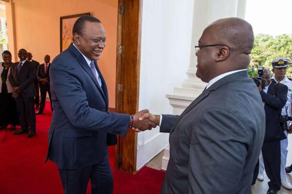 President Uhuru Kenyatta with Democratic Republic of Congo President Felix Tshisekedi. (Daily Nation)