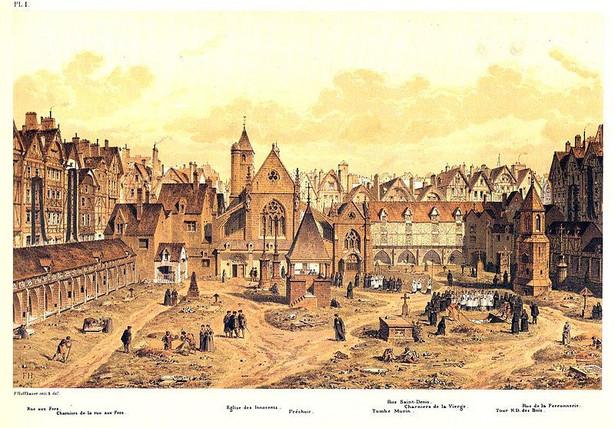 """Paryski Cmentarz Niewiniątek, miejsce akcji powieści """"Oczyszczenie"""", został zamknięty w 1785 roku / domena publiczna via Wikimedia Commons"""
