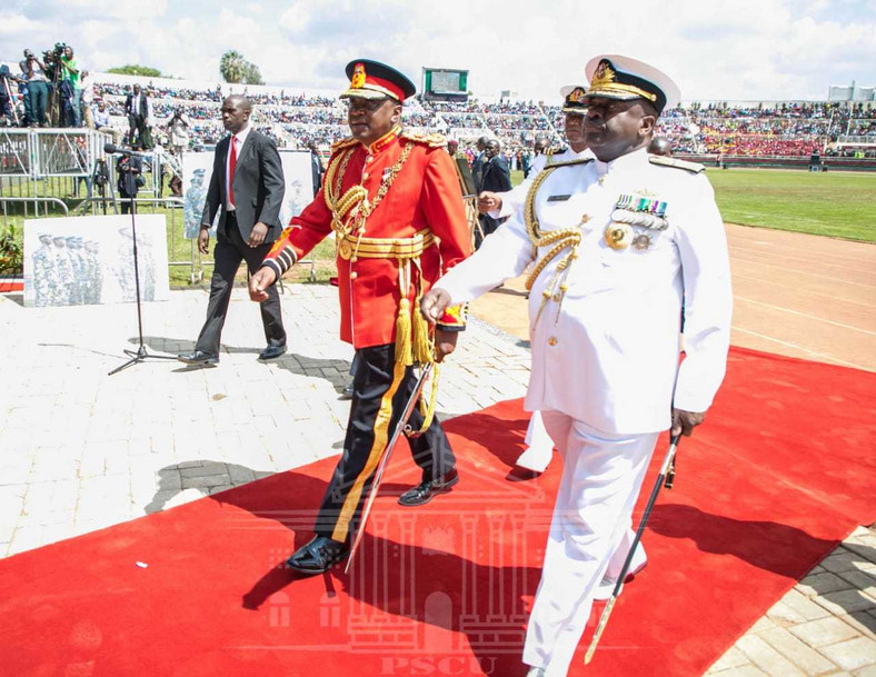 President Uhuru Kenyatta in the red military tunic