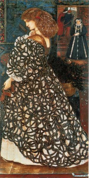 """Sidonia von Bork"" obraz Edwarda Burne-Jonesa z 1860 roku"