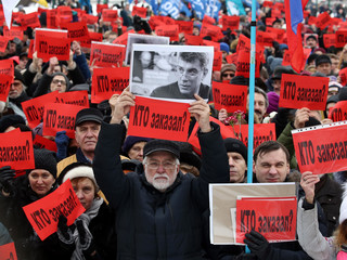 March in memory of Boris Nemtsov held in St Petersburg