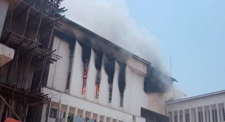Portion of Kisii County Assembly when a fire broke out