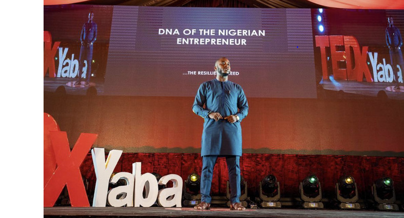 Okeke speaking at TEDx Yaba in 2018