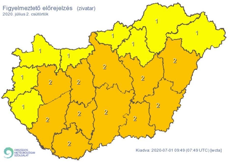 Csütörtökön az ország nagy részén másodfokú riasztás van érvényben a heves zivatarok miatt / Grafika: Met.hu