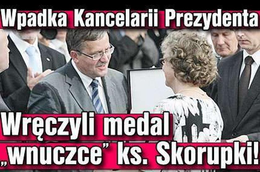 Wpadka Kancelarii Prezydenta. Wręczyli medal wnuczce ks. Skorupki!