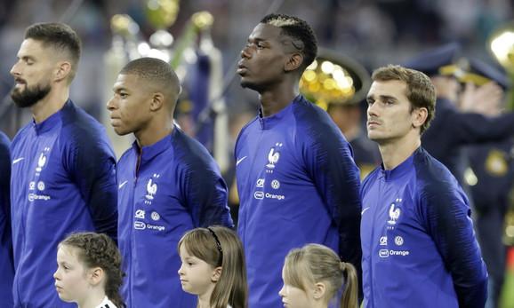 Aktuelni svetski šampiona Olivije Žiru, Kilijan Mbape, Pol Pogba i Antoan Grizman (s leva na desno)