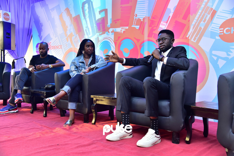 L-R: A cross-section of the panel on equipping the next generation, Chyn Okeke; Osagie Alonge (Head of Editorial, Pulse Africa); Besidone (Instagram) at the Echo Music Conference 2019. (Pulse Nigeria)