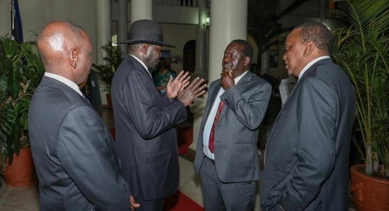 South Sudan President Salva Kiir, President Uhuru Kenyatta, Deputy President William Ruto and former Prime Minister Raila Odinga during the dinner at State House (Courtesy)