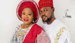 Kolawole Ajeyemi got engaged to Toyin Abraham in July 2019 in a private ceremony in Ibadan, Oyo state. [BBB Media]