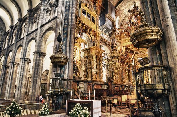 Wnętrze Katedry w Santiago de Compostela