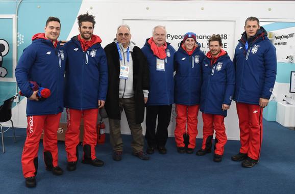 Božidar Maljković, Nenad Lalović i Đorđe Višacki sa našim olimpijcima u Pjongčangu