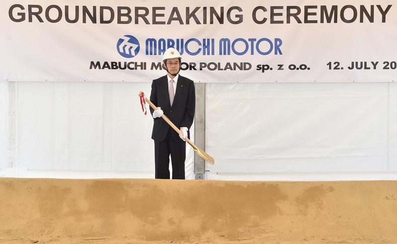 Prezes korporacji Mabuchi Motor - Hiroo Okoshi podczas rozpoczęcia budowy fabryki Mabuchi Motor w Bochni
