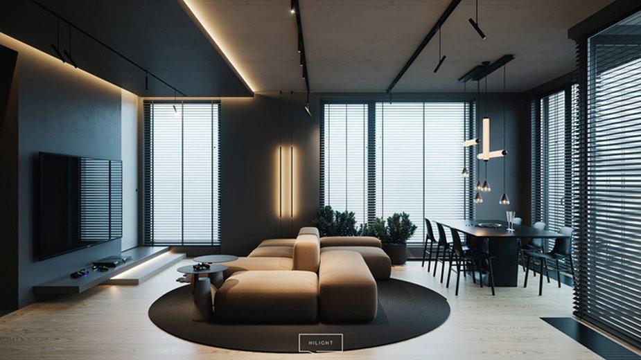 Stylowy apartament w ciemnych barwach