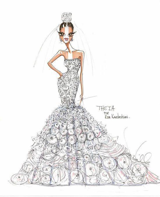 22d2dddbfb Projekt sukni ślubnej Kim Kardashian