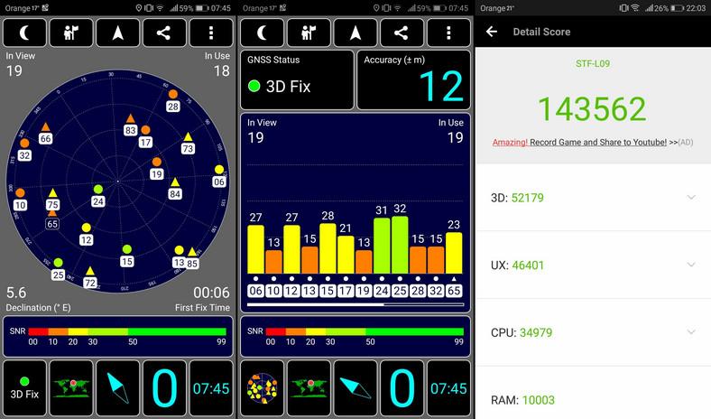 Honor 9 - test GPS, AnTuTu Benchmark