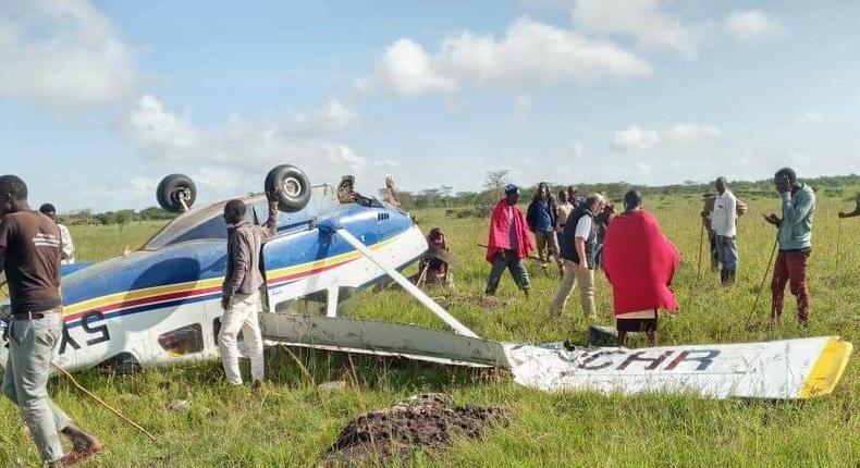 Light aircraft with 5 people on board crashes in Mashuru area Kajiado County