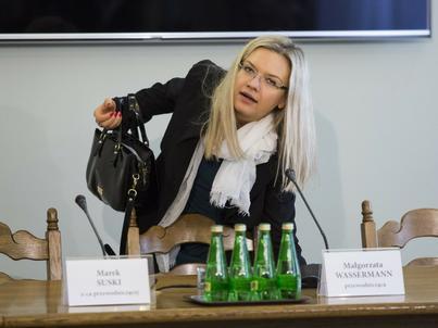Posiedzenie komisji śledczej do spraw wyjaśnienia afery Amber Gold (na zdjęciu: przewodnicząca komisji Magłorzata Wassermann)