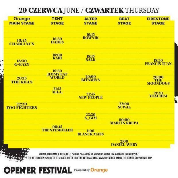 Open'er Festival 2017: rozpiska godzinowa na czwartek, 29 czerwca