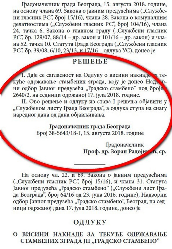 Izvod iz Službenog lista grada Beograda