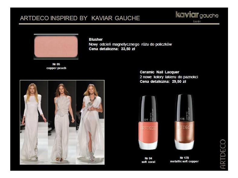 Linia kosmetyków Artdeco Kaviar Gauche wiosna 2012 zainspirowana jest wiosenną kolekcją marki odzieżowej Kaviar Gauche