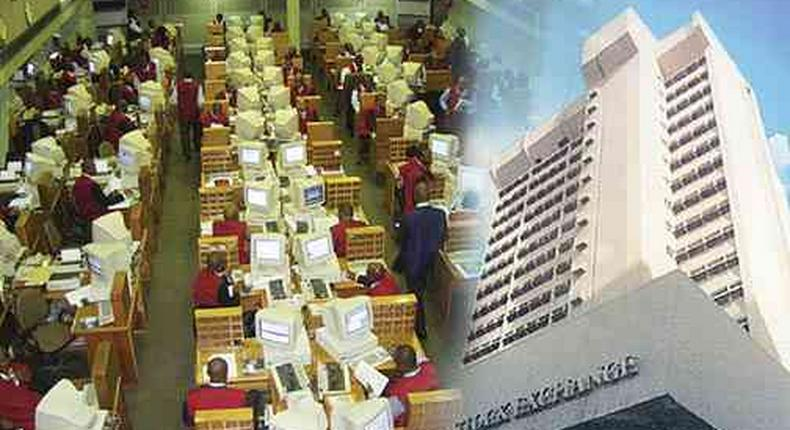Nigerian Stock Exchange (NSE) trading floor and building.