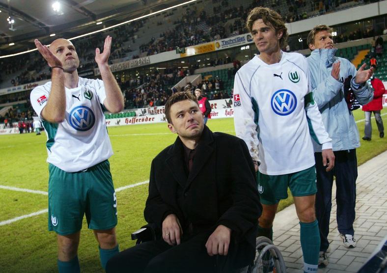 Krzysztof Nowak podczas meczu benefisowego (styczeń 2003 r.)
