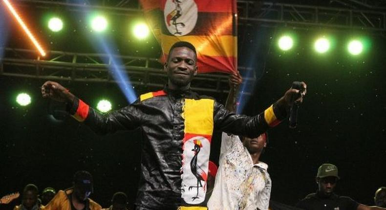 Bobi Wine perfoming on stage