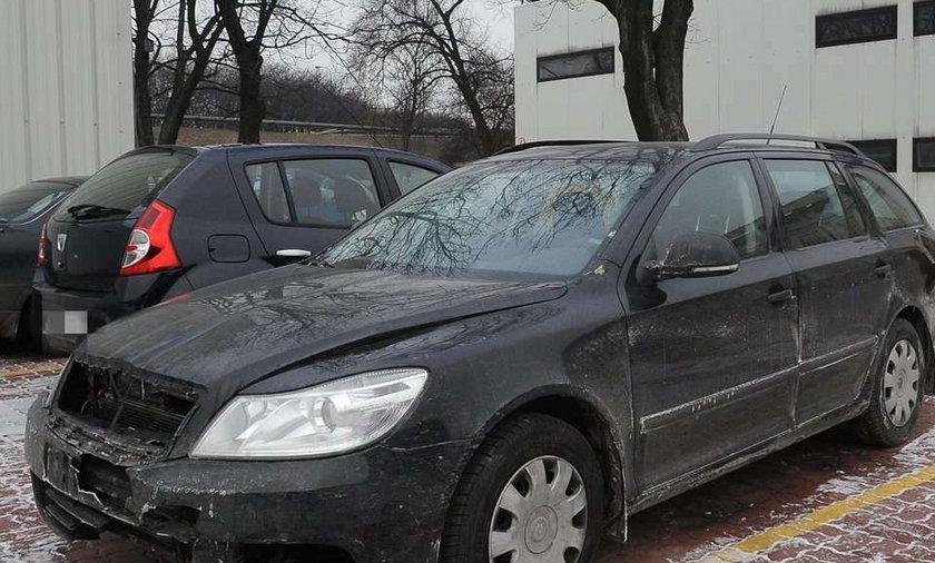 Rozbity samochód Marka Wieczorka