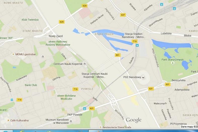 Brak Wisły na mapach Google'a
