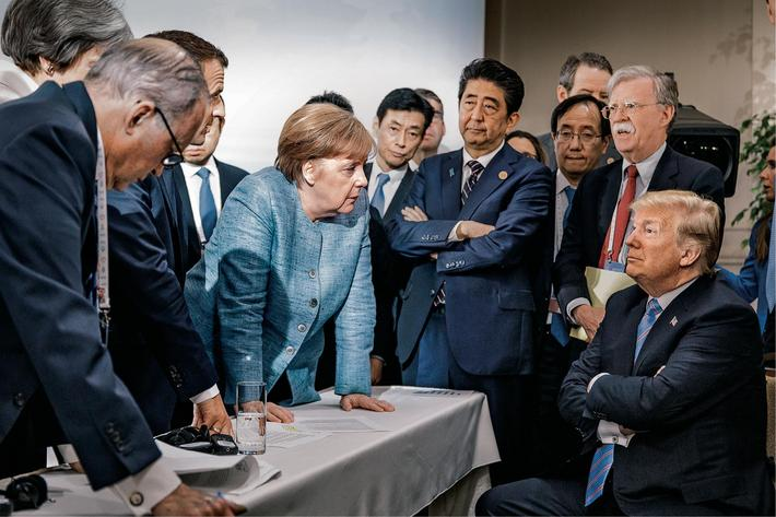 A Merkel-Trump face-off at the 2018 G7 summit in Canada.