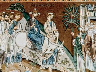 Jesus' entry into Jerusalem. Mosaic. Palace of the Normans . Palermo. Sicily.