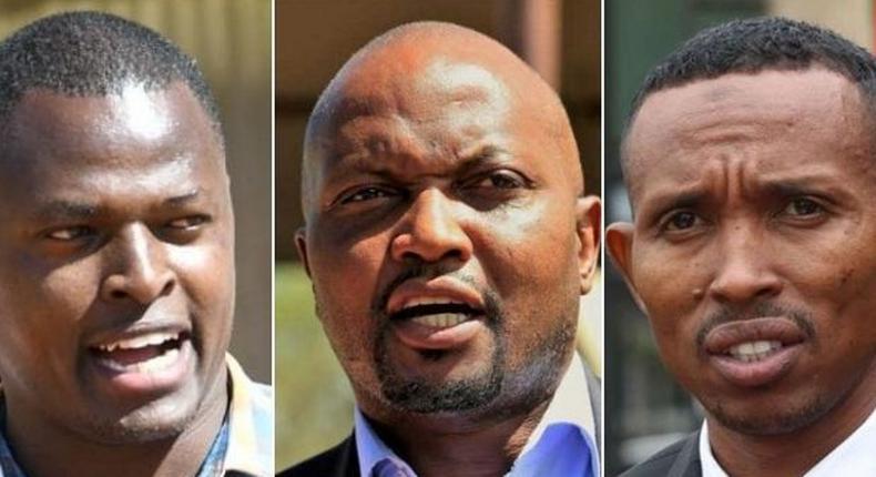 Kiharu MP Ndindi Nyoro, Gatundu MP Moses Kuria and Nyali MP Mohamed Ali