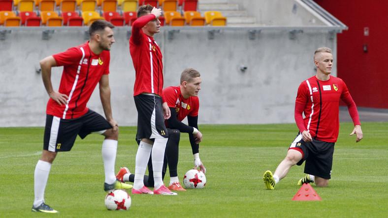 Zawodnicy Jagiellonii Bałystok podczas treningu przed rewanżowym meczem z Dinamo Batumi