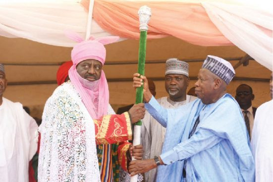 New Kano Emir Bayero receives his staff of office from Governor Ganduje (Daily Trust)