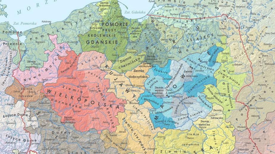 Regiony historyczne w Polsce (aut. Marcin Sobiech / EXGEO Professional Map)