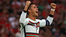 Cristiano Ronaldo now has a record 11 European Championship goals after his brace in Portugal's 3-0 win over Hungary Creator: BERNADETT SZABO