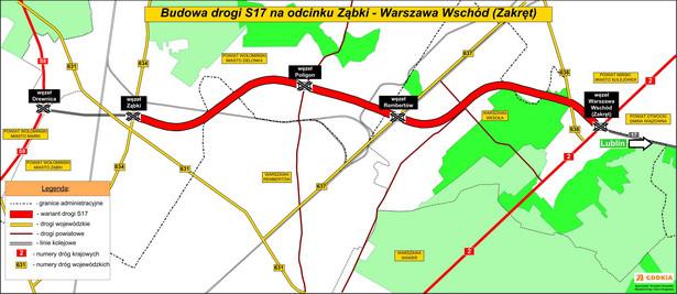 Budowa drogi S17 na odcinku Ząbki – Warszawa Wschód (Zakręt). Źródło: GDDKiA