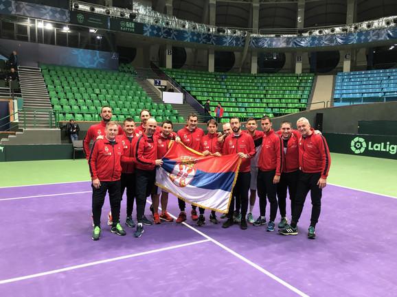 Slavlje tenisera Srbije posle plasmana na završni turnir Dejvis kupa