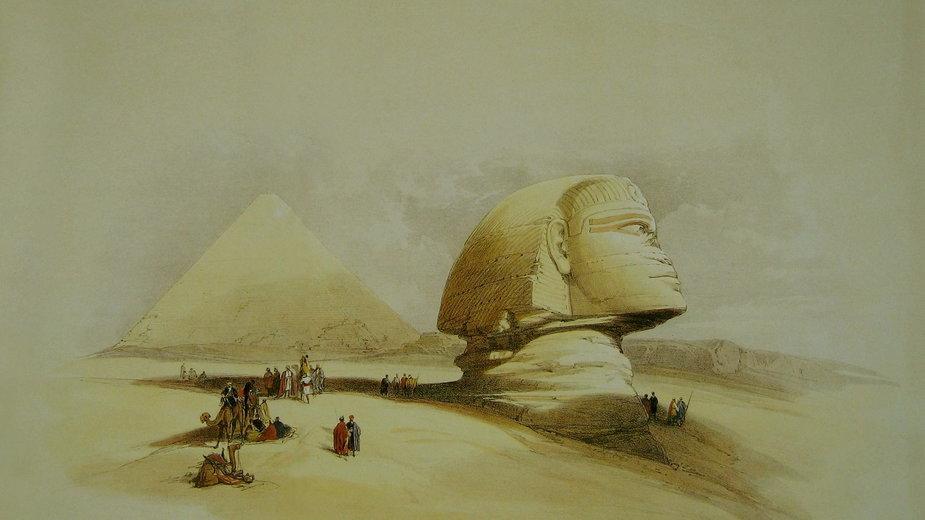 Wieki Sfinks (przed odkopaniem i renowacją) i Piramida Cheopsa w Gizie. Autor: David Roberts, 1838 rok (domena publiczna)
