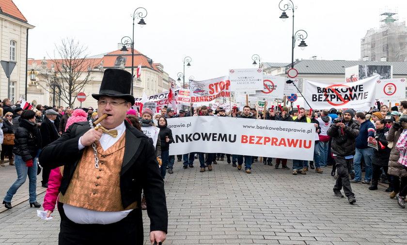 Frankowicze protest.