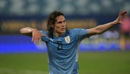 Uruguay's Edinson Cavani celebrates after scoring against Bolivia at the 2021 Copa America in Brazil Creator: DOUGLAS MAGNO