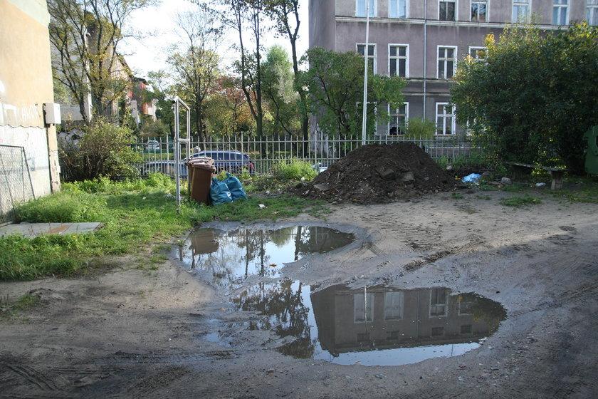 zdezelowane podwórko przy ul. Wajdeloty