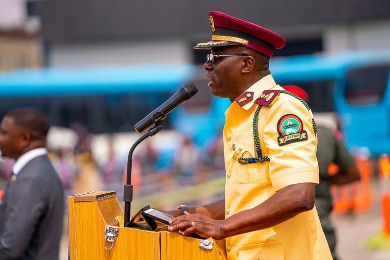 Lagos Gov Sanwo-olu addresses new recruits of LASTMA in Lagos on Wednesday, Feb 5, 2020 (Twitter: @Mr_Jags)