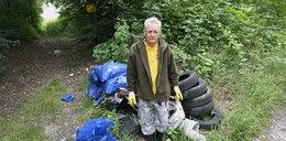 Pan Waldemar własnymi rękami posprzątał 100 ton śmieci! Pracę ułatwiłaby mu terenówka