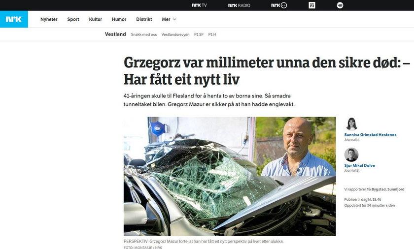 Grzegorz jechał po dzieci na lotnisko. Nagle na jego samochód spadł ważący tonę kamień