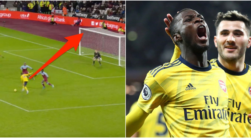 Arsenal's $94 million record signing scored his first goal from open play for the club, and it was a stunning curled effort from near the edge of the box