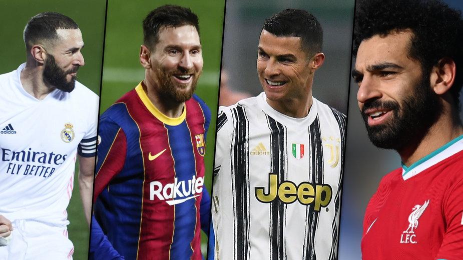 Karim Benzema, Lionel Messi, Cristiano Ronaldo, Mohamed Salah